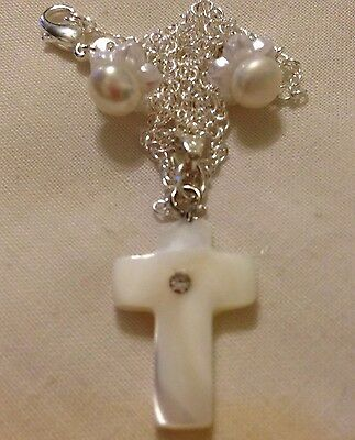 """Shell PearlCross&Water Pearl Stud/petaEarings/Ster Silver18""""Chain."""