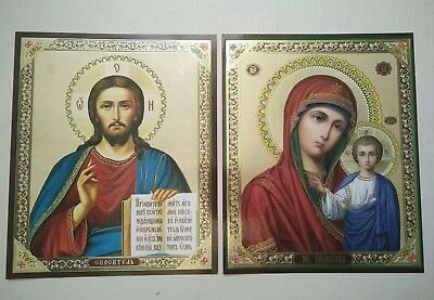 RUSSIAN ICONS x 2 , MOTHER OF GOD KAZANSKAYA & JESUS CHRIST 18 cm x 15 cm