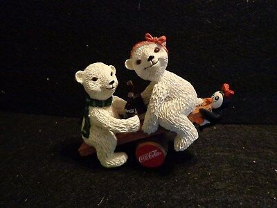 "Coca Cola Polar Bear Cubs Collection ""Balancing Act"" Polar bears with penguin"