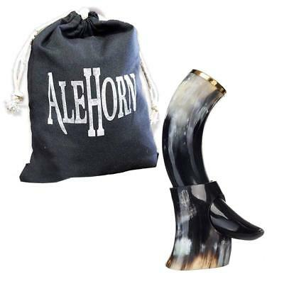 """AleHorn – The Original Handcrafted Authentic Viking Drinking Horn - 12"""""""