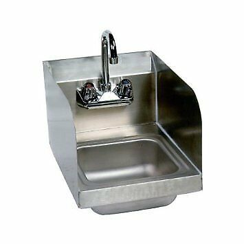 "Stainless Steel Hand Sink with Side Splash - NSF - Commercial Equipment 10"" X"