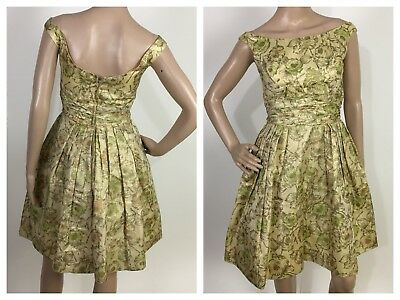 True Vintage 1950s dress retro pin-up Floral Gold Yellow size S bow