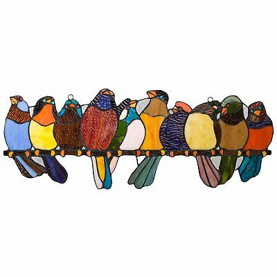 River of Goods Bird Suncatcher: Stained Glass Birds on a Wire Hanging Sun