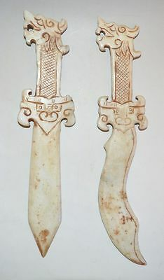 China Late Qing Dyn Xiu Jade Stone Sword Carved Dragon Statue Handle Weapon Pair