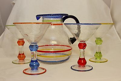 Mexican Hand Blown Bubble Recycled Fiesta Margarita Pitcher Glass Set Cocktail