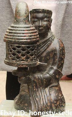 "16"" Old Collection Chinese Bronze Ware Ancient People Person Oil lamp Statue"