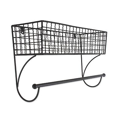 Home Traditions Z02225 Rustic Metal Wall Mount Shelf with Towel Bar, Large,