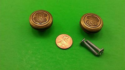 Antique Vintage Round Bronze Cast Handles With Monogram On Top