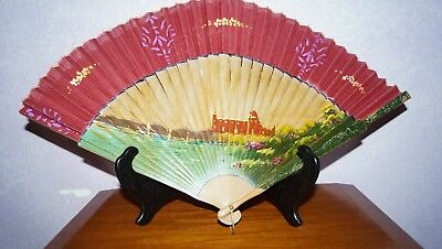 """Antique Chinese Hand Painted Wood Hand Fan Castle Temple Large 20"""" Across"""