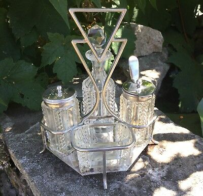 Art Deco Silver Plated And Cut Crystal Condiment Set Harrison Fisher & Co