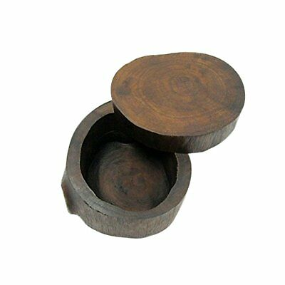 ONE2T Wooden Round Box - Handmade Antique Wedding Ring Case, Portable Small