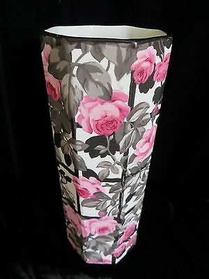 Antique Vase Royal Staffordshire Wilkinson Pink Rose Black Signed