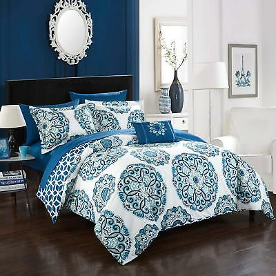 Chic Home Barcelona (8 Piece) Reversible Comforter Set, King, Blue, 8 Piece