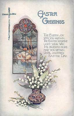 Easter Sunlight Greetings! Lily of the Valley, Muguet, Vase, Cross, Sheep