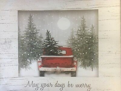 PRINT.  Vintage Christmas Tree In Red Pick-Up Truck 9x12