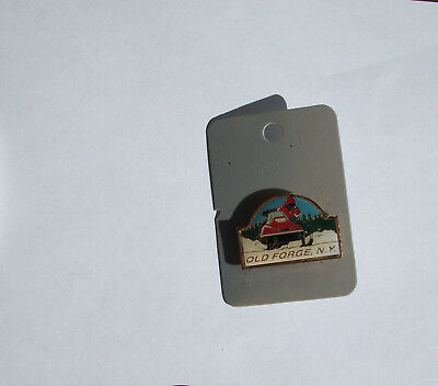 Vintage Old Forge New York  Pinback - Snowmobiling