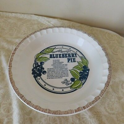 "Royal China 10-7/8"" Blueberry Recipe Pie Plate  Country Harvest 1983"