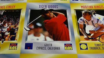 1996 Tiger Woods Rookie Rc Card Sports Illustrated Si Magazine For Kids Sheet