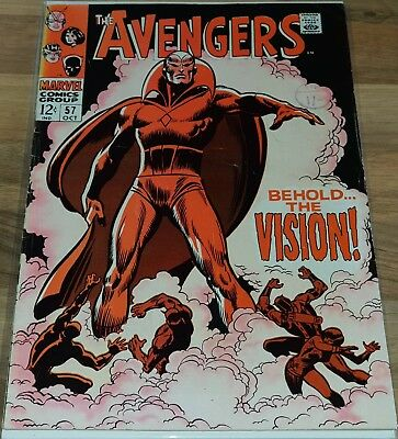 Avengers #57 Vol 1 First Appearance of Vision 1968 F/VF Rare Marvel Comics.