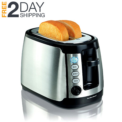 Stainless steel 2 slice toaster extra wide bread bagel waffle slots cool wall