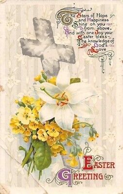 Easter Greetings! Stars of Hope and Happiness, Cross, Lily Primrose Flowers 1911