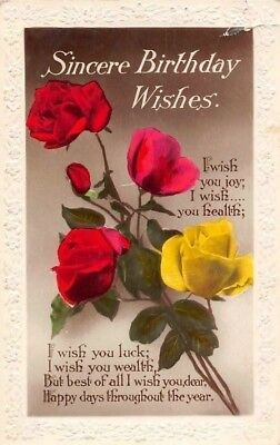 Embossed Sincere Birthday Wishes Roses Bouquet Joy Health Luck Wealth 1938