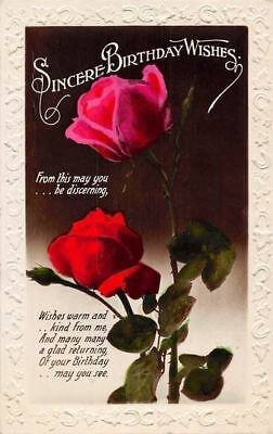 Embossed Sincere Birthday Wishes Be Discerning Red Roses
