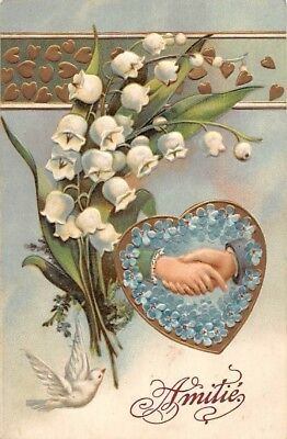 Embossed Muguet Lily of the Valley Forget-me-Not Handshake Dove White Peace Bird