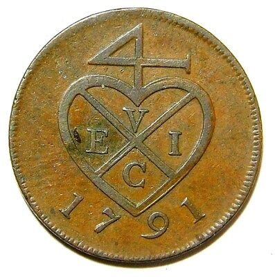 1791 British East India Company One Pei  Excellent Details For The Age  A32-756