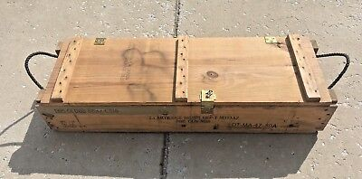 Vintage Wooden Military Ammunition Ammo Crate w/ Hinged Lid & Rope Handles