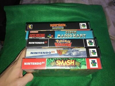 5 Universal Game Cases, N64, SNES, Sega, Nintendo (No Game) Free Post