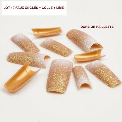 Lot 10 Capsules Tips Faux Ongle Gel Uv Vernis Dore Paillette Colle Lime Ong600