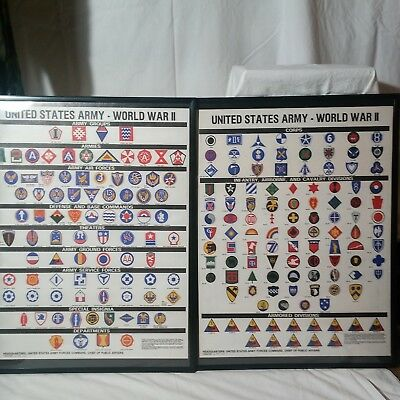 Two Posters showing U.S. Army Shoulder Sleeve Insignia of WWII.