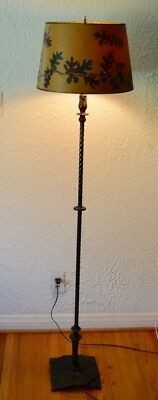 Vintage 1930s Cast Iron Art Deco W&E Co. 5' Floor Lamp with Antique Shade