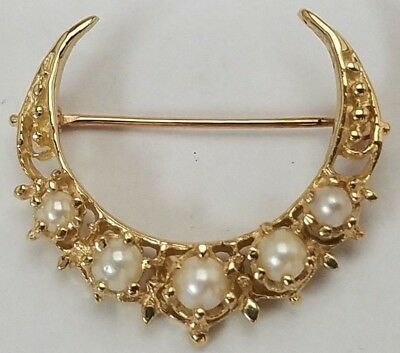 14k Yellow Gold Seed Pearl Crescent Moon Symbol of Islam Muslim Pin Brooch