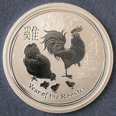 Perth Mint 2017 Lunar Year Of The Rooster ½ oz  Ounce 99.9% Silver Bullion Coin