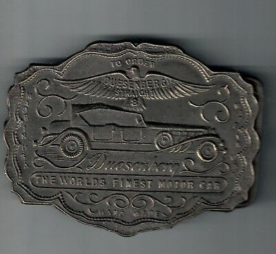 Vintage Duesenberg Car Brass belt buckle Wyoming Buffalo Art Works