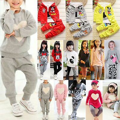 2/3PCS Kids Baby Girls Clothes Outfits Cotton Sweatshirt Tracksuit + Pants Sets