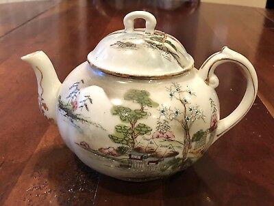 Antique Hand Painted NIPPON Marked TEAPOT JAPAN Village Scene Moriage Beading