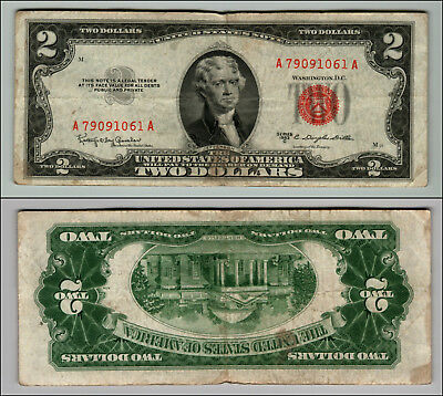 1953B $2 Dollar Bill Old Us Note Legal Tender Paper Money Currency Red Seal P577