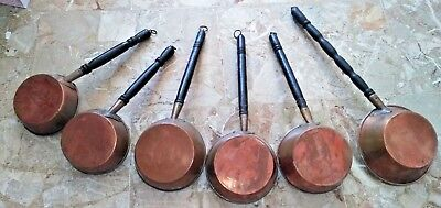rare antique french 6 copper pans tinned, made in France 19th napoleon III