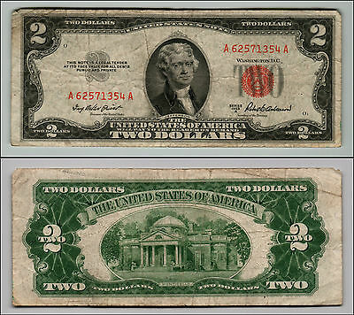 1953A $2 Dollar Bill Old Us Note Legal Tender Paper Money Currency Red Seal Q537