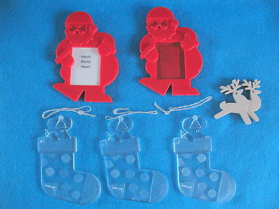 AVON LOT OF 2 Red Magnetic SANTA FRAMES & 3 Clear  STOCKING ORNAMENTS  FREE SHIP