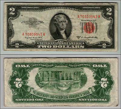 1953B $2 Dollar Bill Old Us Note Legal Tender Paper Money Currency Red Seal P61