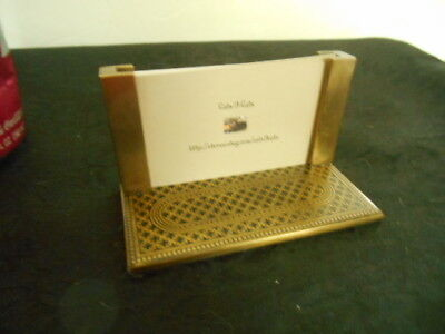 Lovely Solid Brass Etched Base Desk Accessory Business Card Holder