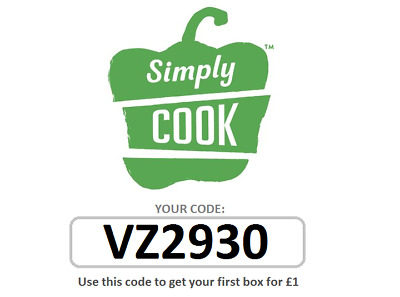 Simply Cook simplycook Referral Code Voucher Promo 1st Box for £1 Food Order