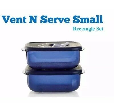 NEW Tupperware Vent n Serve Small Rectangle 2 Pc Set Indigo Blue