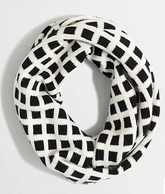 J.CREW FACTORY Printed Woven Windowpane Infinity Scarf Black And White