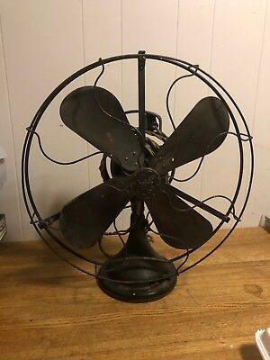 Vintage 17 Brass Blade GE General Electric #d53622AOU Oscillating Fan & RM Cage