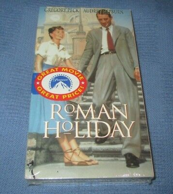 """Roman Holiday"" VHS Tape New Factory Sealed Gregory Peck Audrey Hepburn Oscar"
